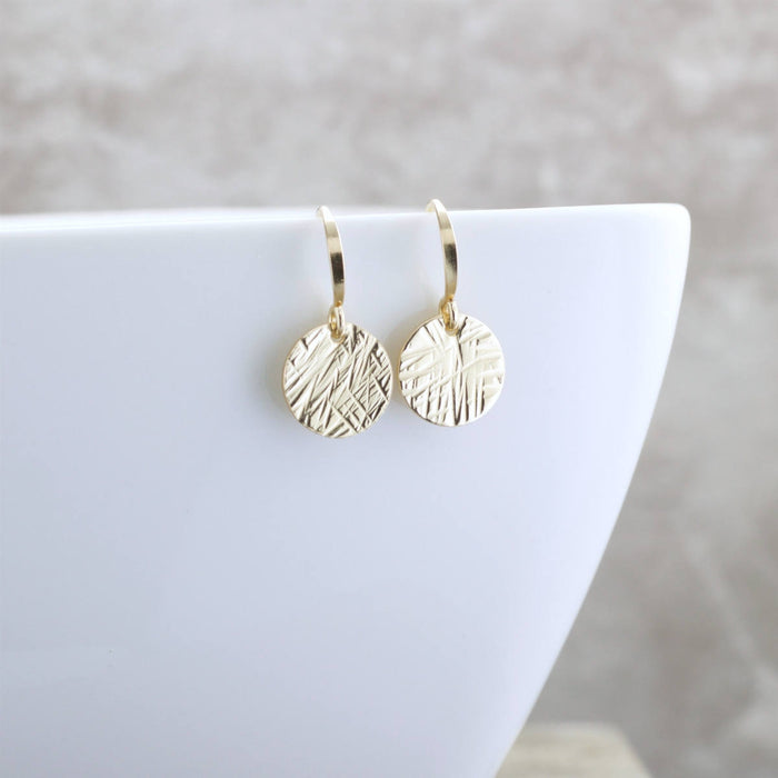 Dainty Gold Earrings Textured Gold Minimal Earrings