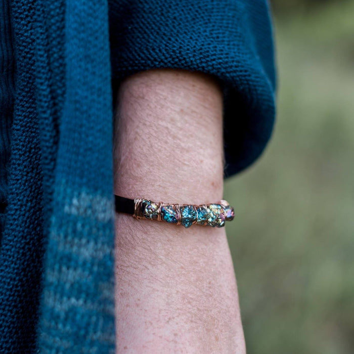 Rainbow Pyrite Rose Gold and Copper Cuff Bracelet
