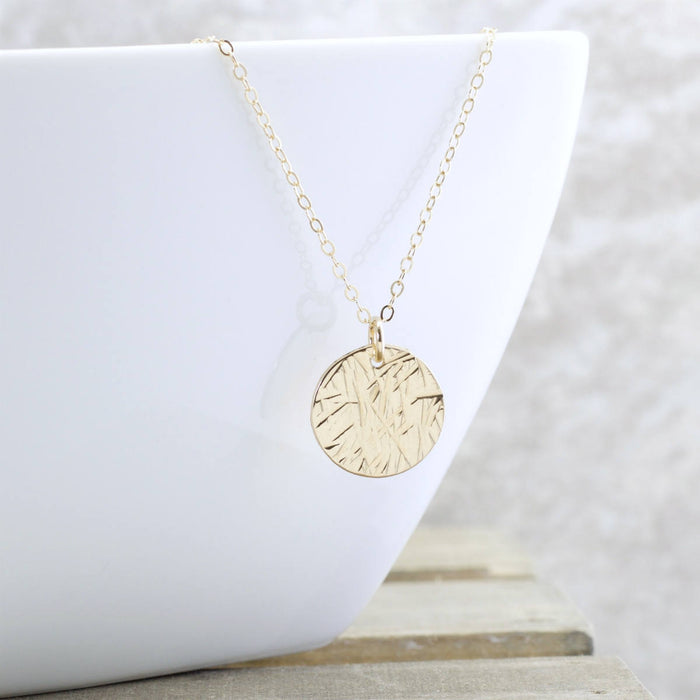 Gold Disc Necklace - Textured Circle Necklace