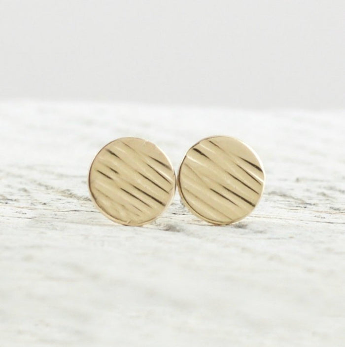 Gold Disc Stud Earrings