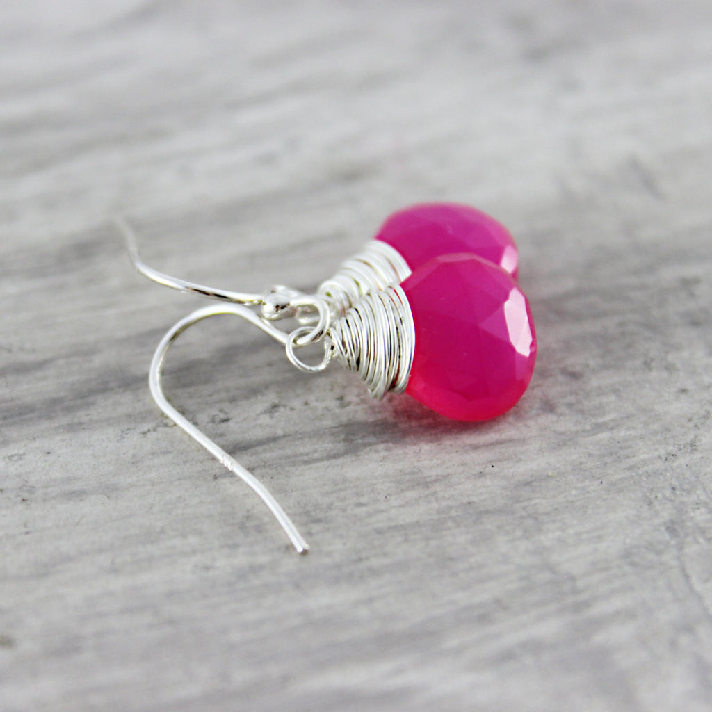 Hot Pink Chalcedony Sterling Silver Earrings