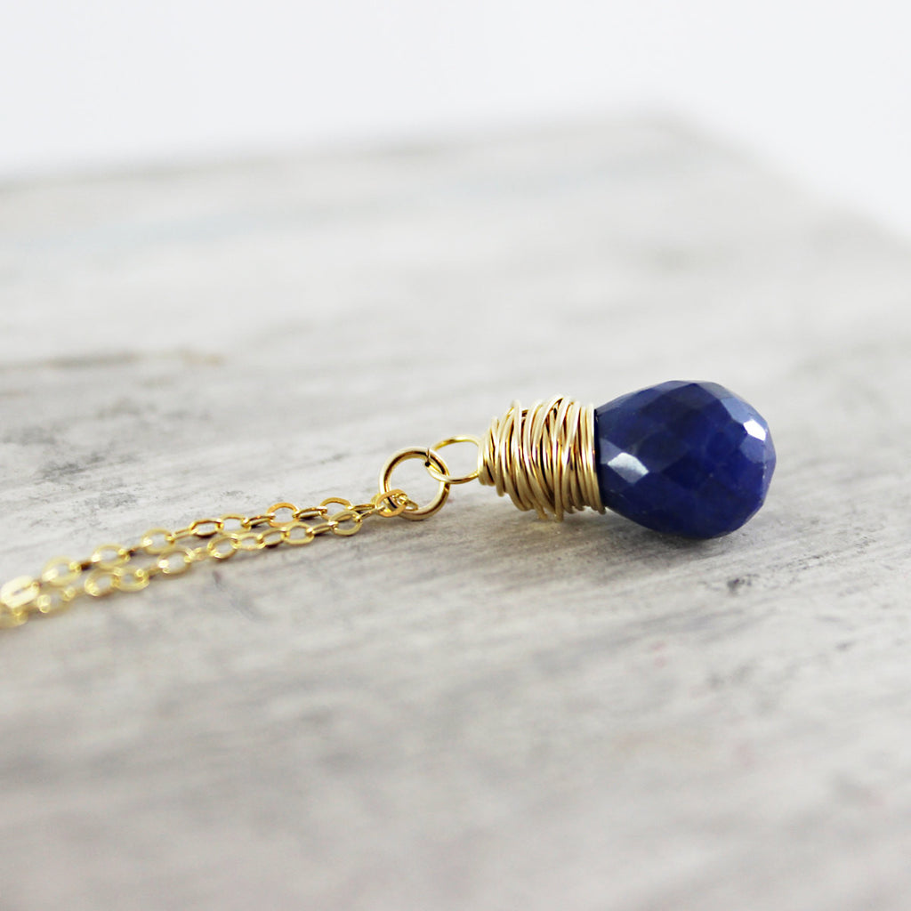 Blue Sapphire Gold Gemstone Necklace