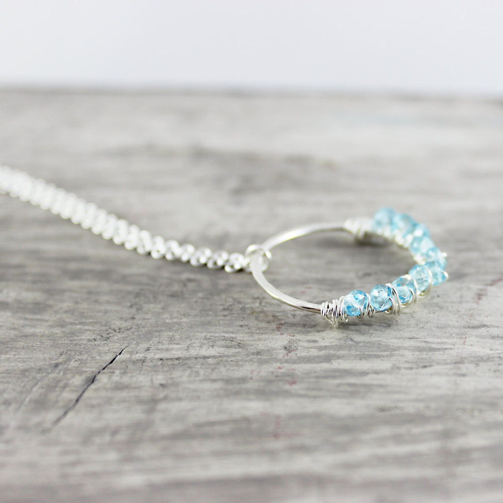 Sky Blue Topaz Silver Circle Pendant Necklace