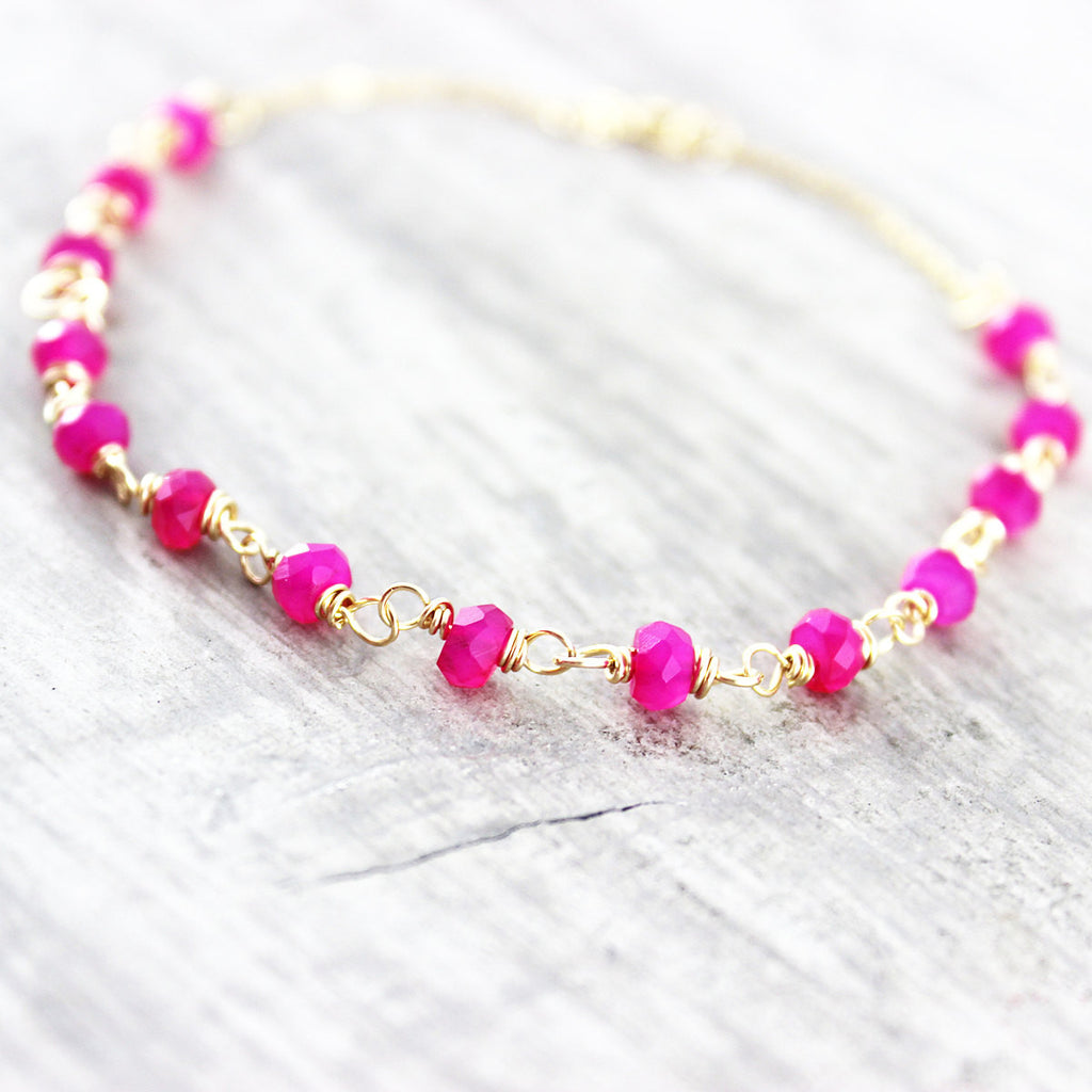 Hot Pink Chalcedony Beaded Gold Filled Bracelet