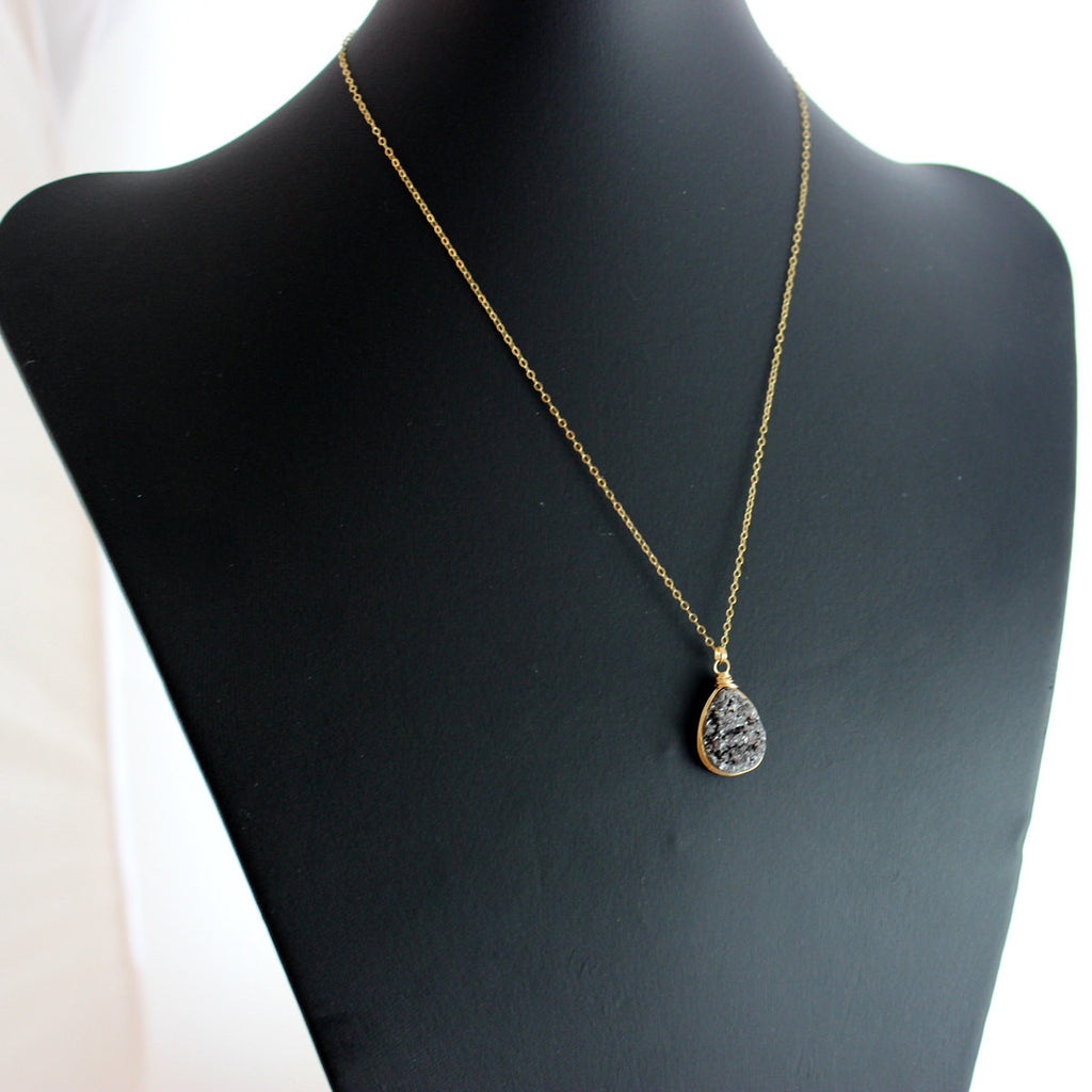 Silver Druzy Geode Teardrop Necklace