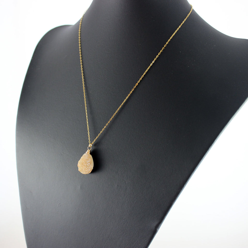 Peach Druzy Geode Teardrop Necklace