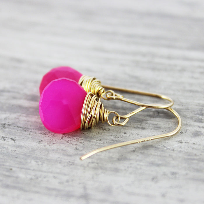 Hot Pink Gold Chalcedony Stone Earrings