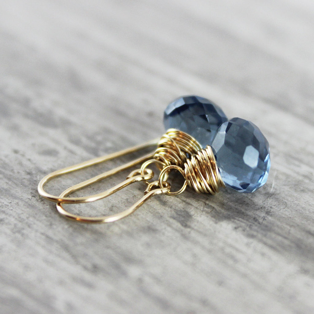 Dark Blue Quartz Gold Drop Earrings