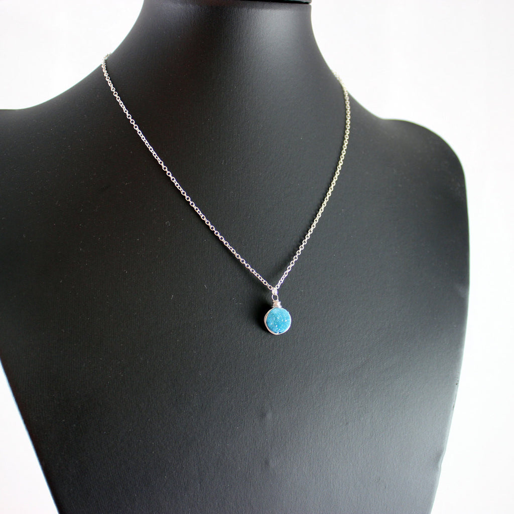 Sky Blue Druzy Silver Circle Necklace