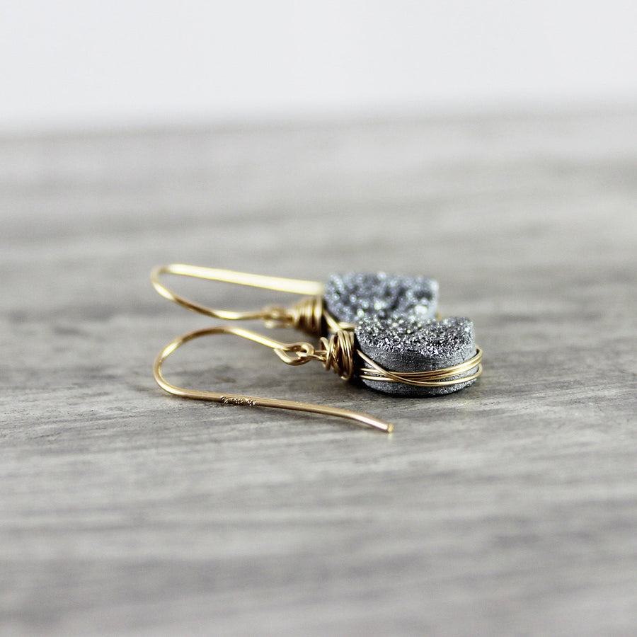 Silver and Gold Druzy Geode Circle Earrings