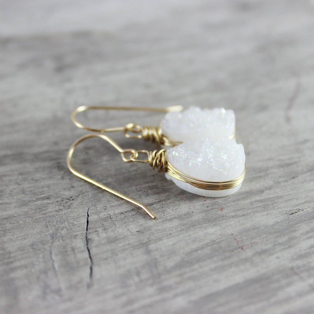 White Druzy Gold Teardrop Earrings