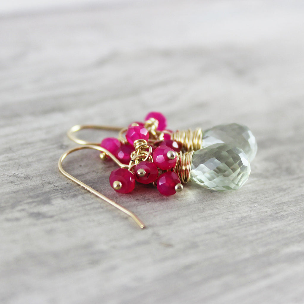 Green Amethyst and Hot Pink Stone Earrings