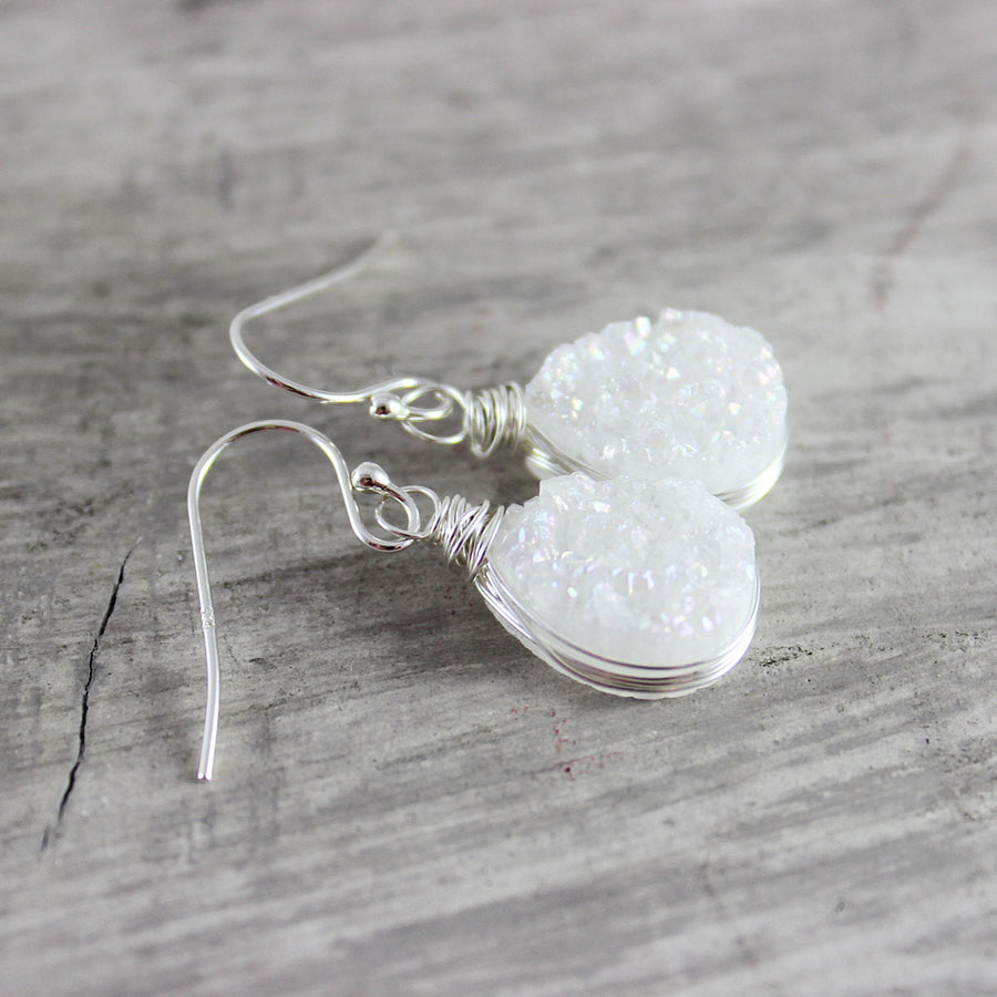 White Druzy Teardrop Silver Earrings