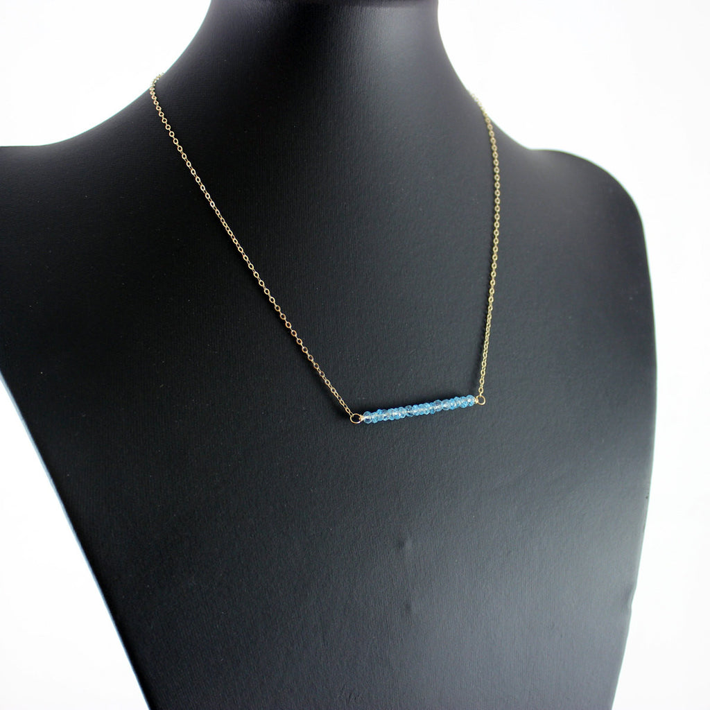 Sky Blue Topaz Gold Bar Necklace