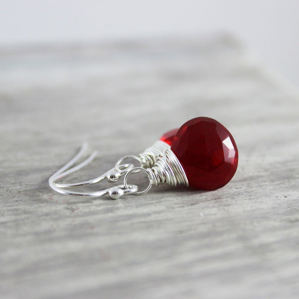 Apple Red Sterling Silver Earrings