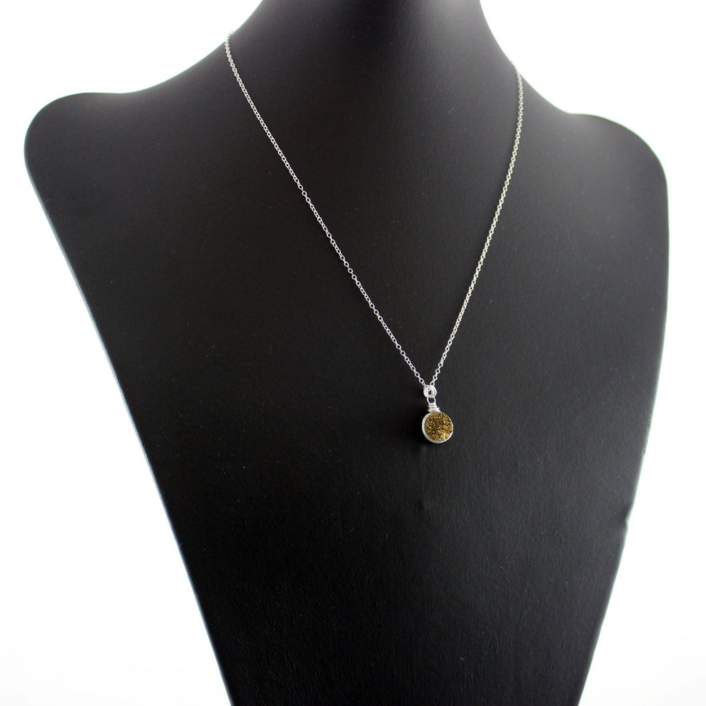 Gold Druzy Sterling Silver Circle Necklace
