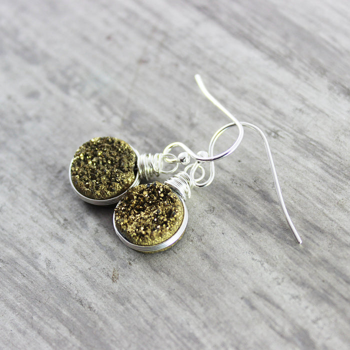 Gold Druzy Sterling Silver Circle Earrings