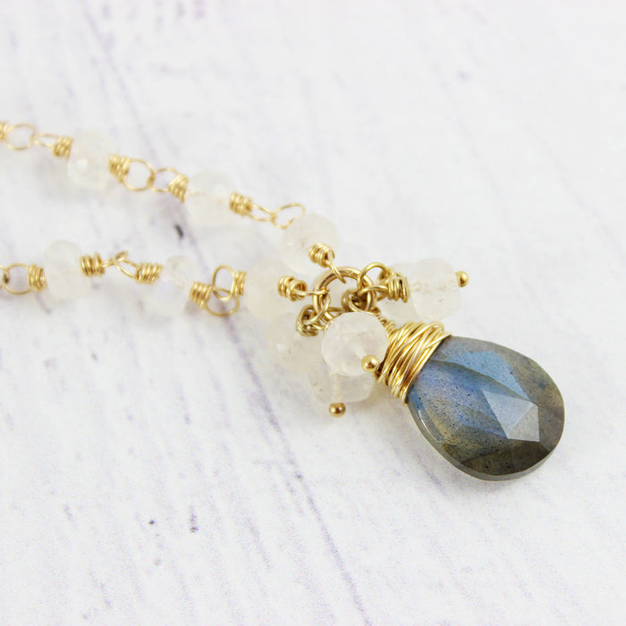 Labradorite and Moonstone Beaded Gold Filled Necklace