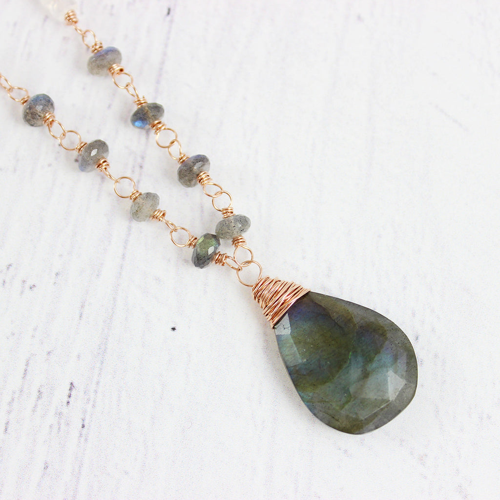 Labradorite and Moonstone Rose Gold Long Beaded Necklace
