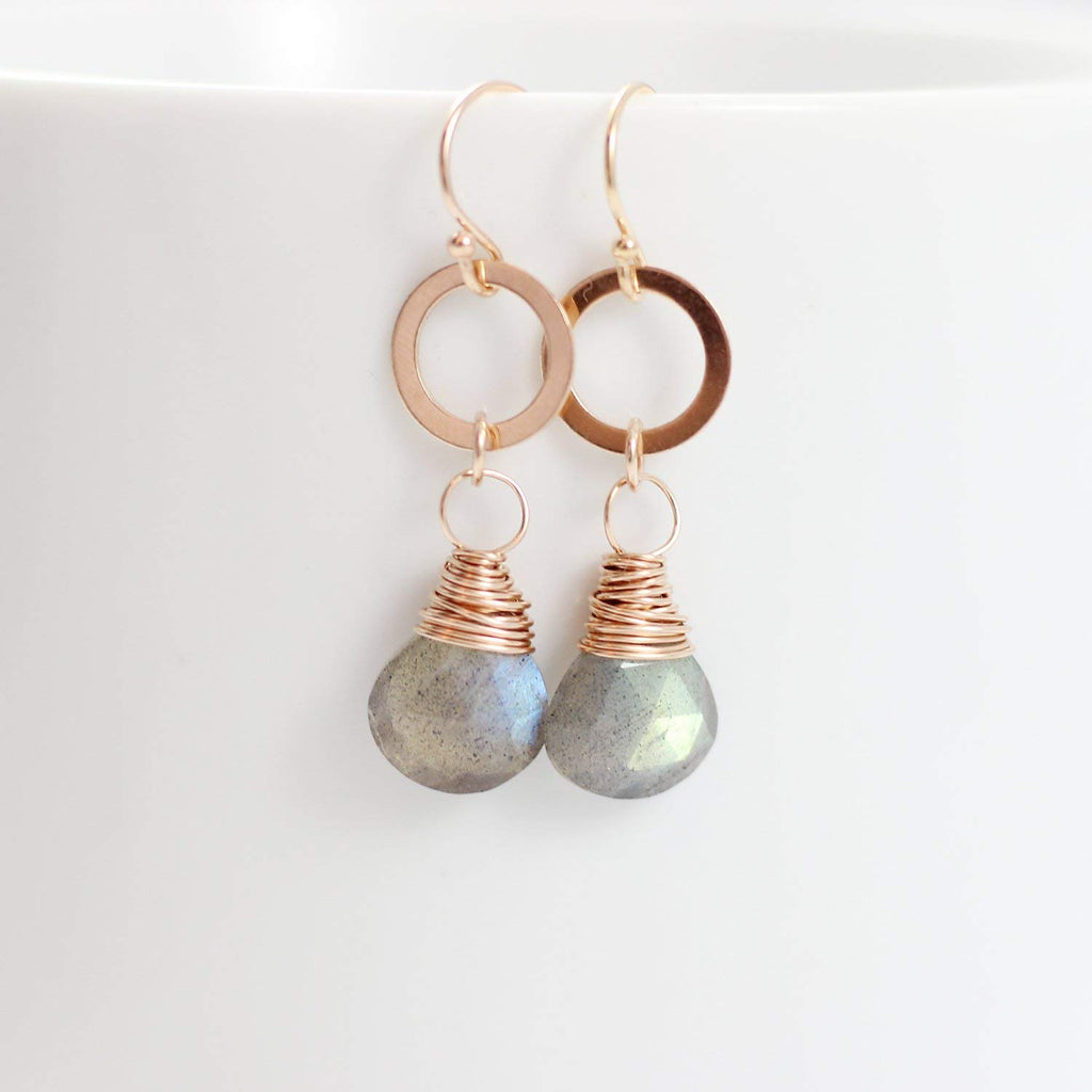 Labradorite Retro Rose Gold Dangle Earrings