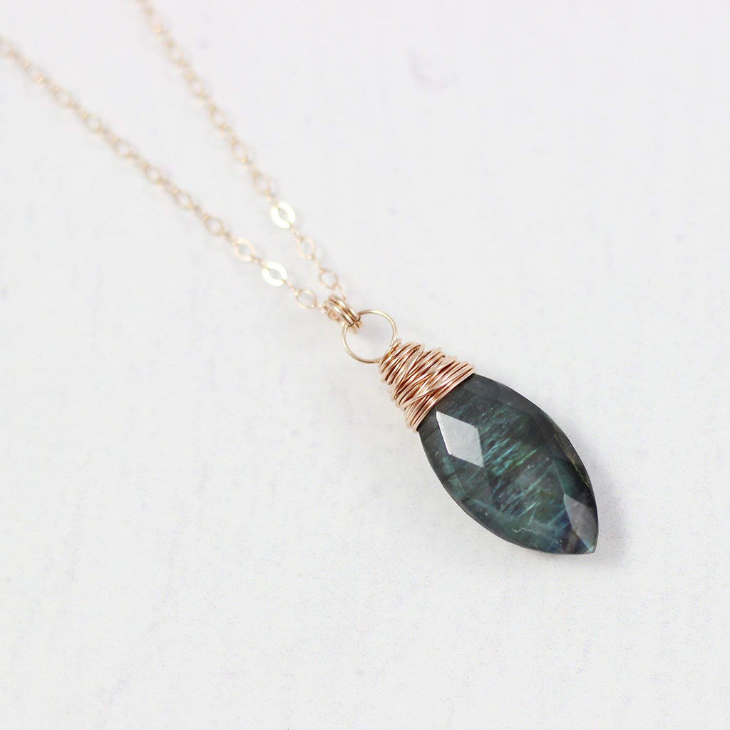 Labradorite Rose Gold Pendant Drop Necklace