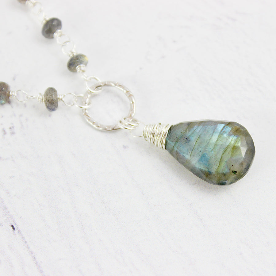 Labradorite Gemstone Sterling Silver Beaded Necklace