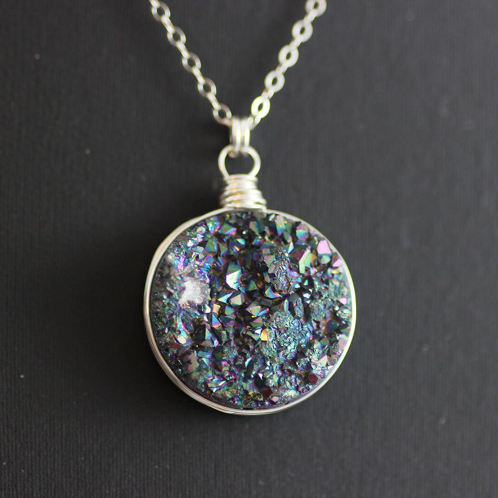 Large Rainbow Druzy Sterling Silver Circle Pendant Necklace