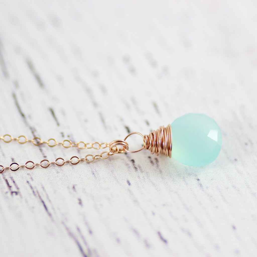 Light Aqua Chalcedony Rose Gold Necklace
