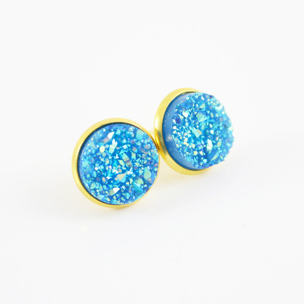 Blue Faux Druzy Gold-tone Stud Earrings