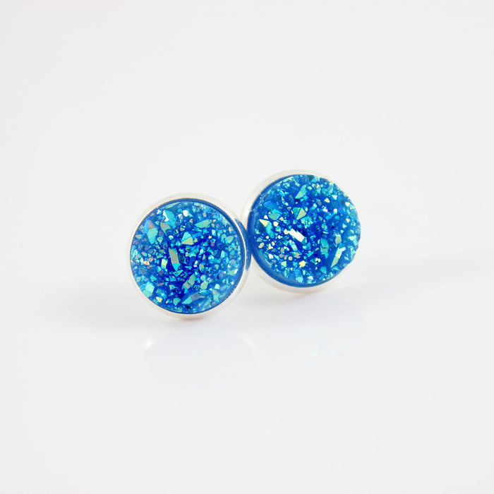 Blue Faux Druzy Silver-tone Stud Earrings