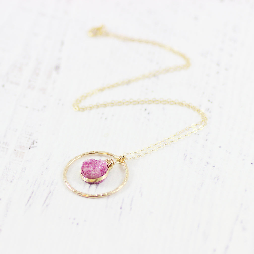 Pink Druzy Geode Gold Filled Pendant Necklace