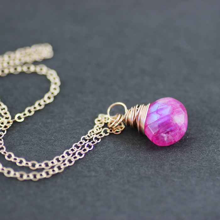 Pink Moonstone Rose Gold Dangle Necklace