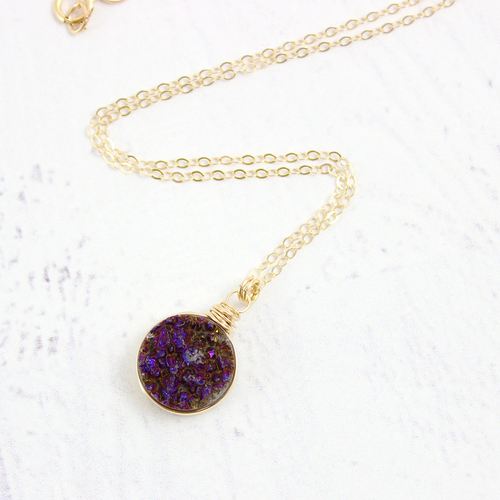 Dark Metallic Purple Gold Filled Druzy Stone Necklace