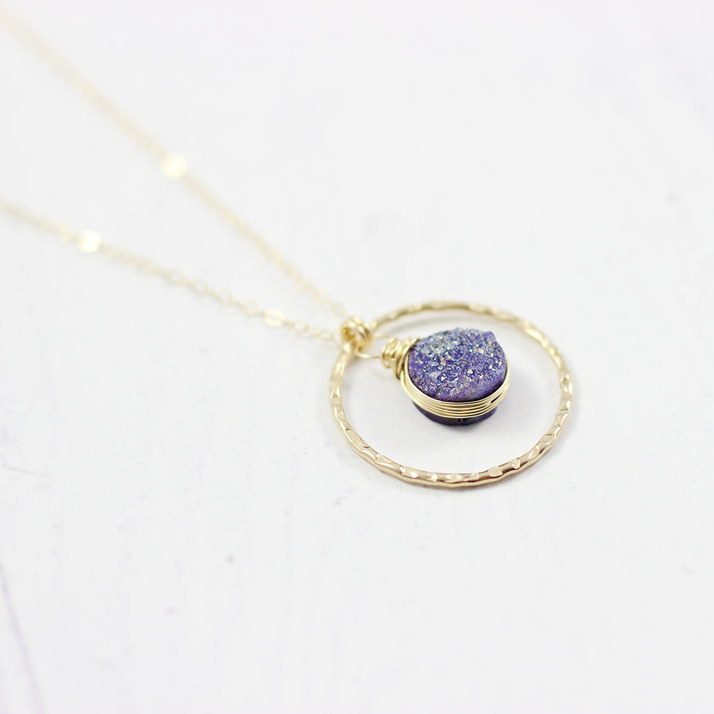 Purple Druzy Geode Yellow Gold Pendant Necklace