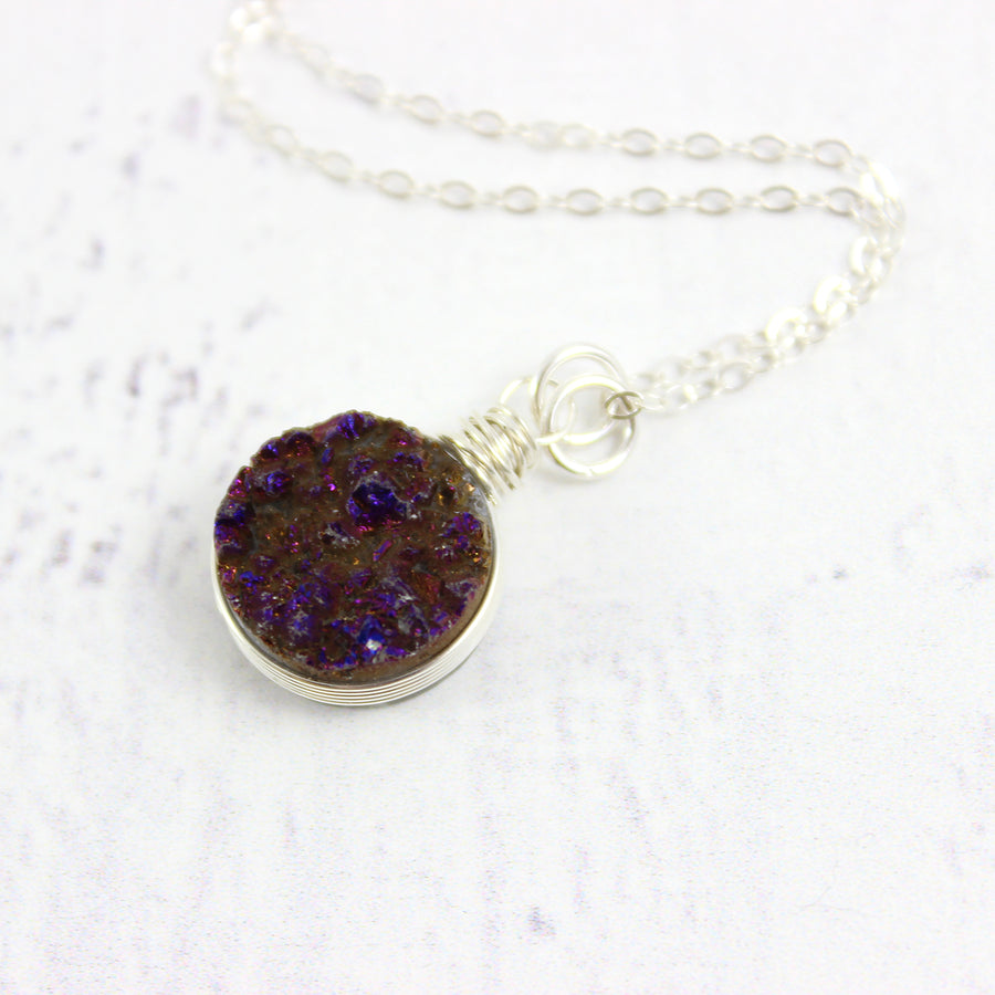 Dark Metallic Purple Sterling Silver Druzy Geode Pendant Necklace