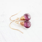 Dark Purple Quartz Rose Gold Earrings