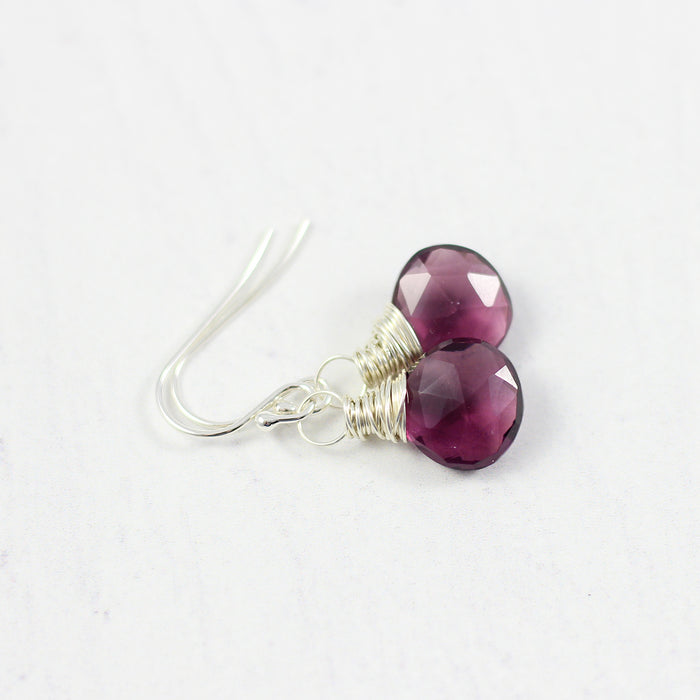 Dark Purple Quartz Sterling Silver Earrings
