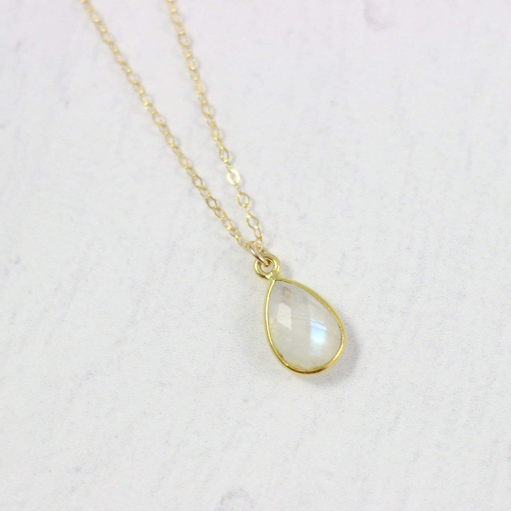 Rainbow Moonstone Yellow Gold Bridal Necklace