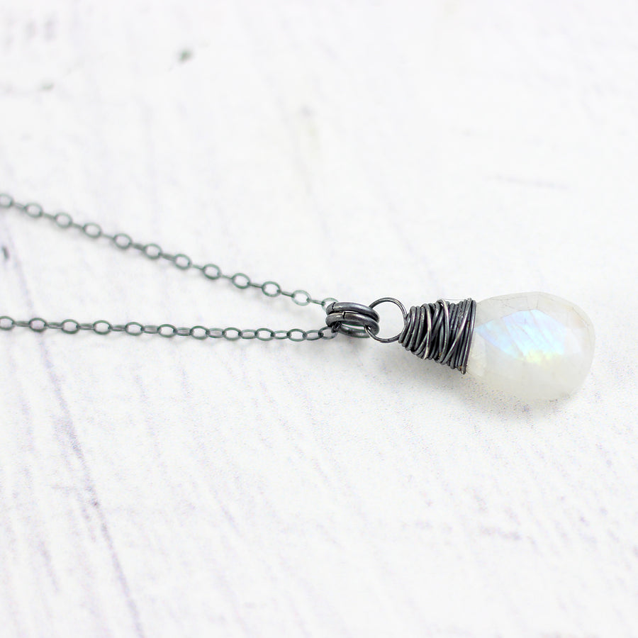 Rainbow Moonstone Oxidized Teardrop Pendant Necklace