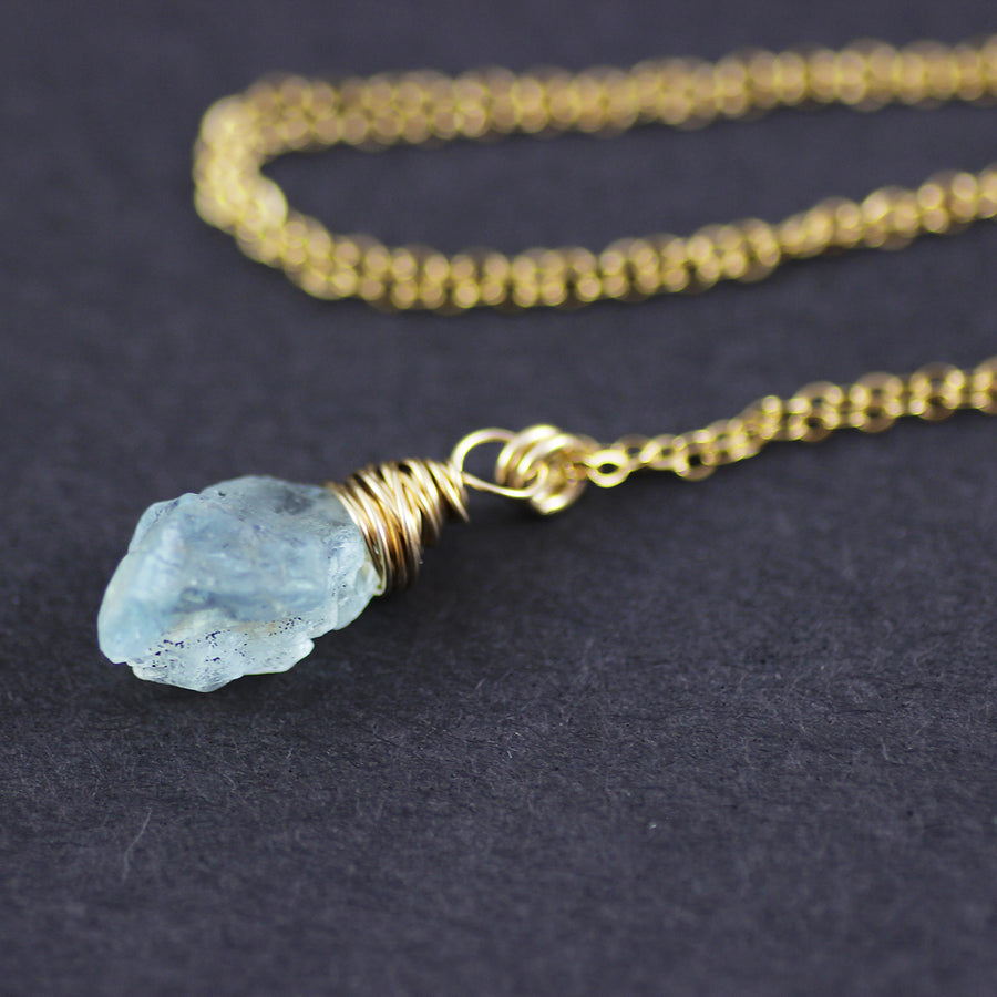 Raw Aquamarine Gold Filled Pendant Necklace