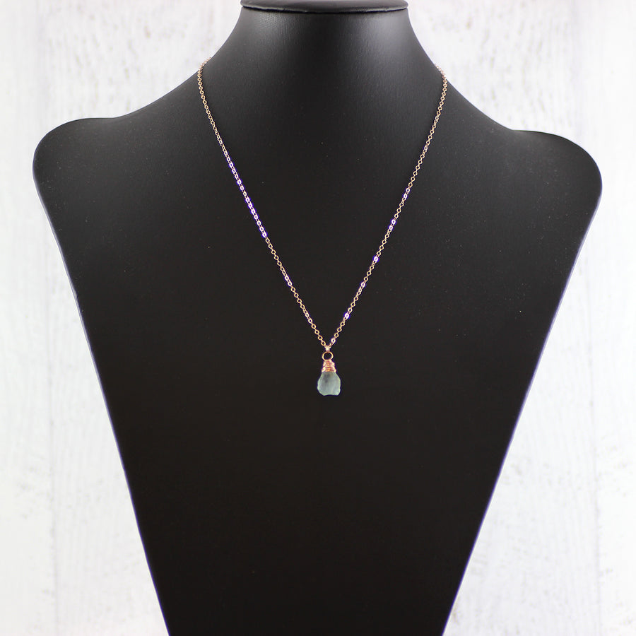 Blue Aquamarine Raw Gemstone Rose Gold Necklace