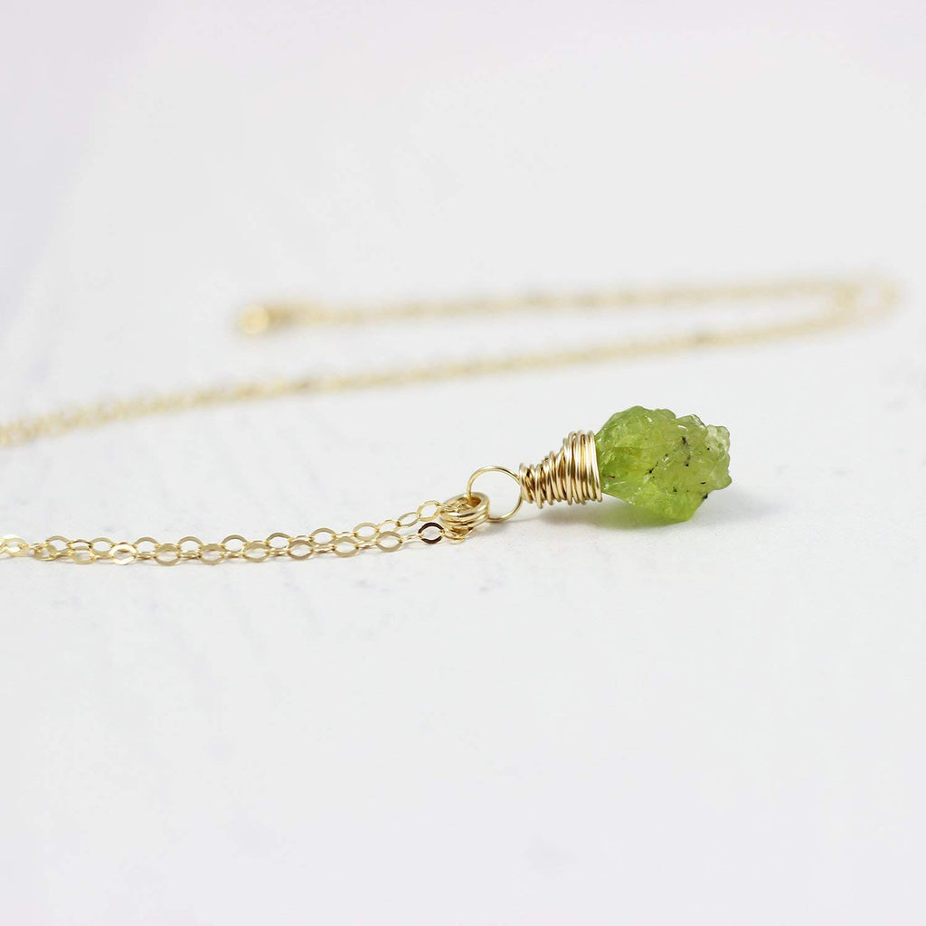 Raw Peridot Gold Birthstone Pendant Necklace