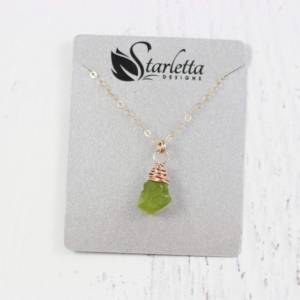 Raw Green Peridot Rose Gold Stone Necklace
