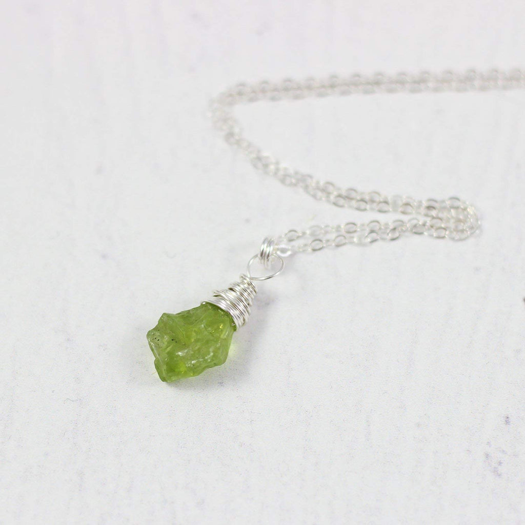 Raw Peridot Sterling Silver Gemstone Necklace