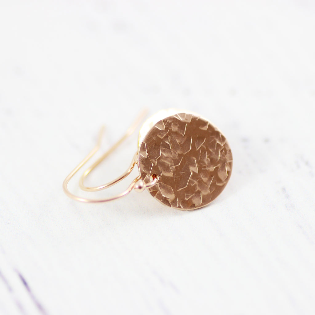 Rose Gold Filled Small Metal Circle Drop Earrings
