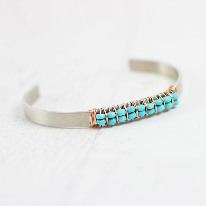 Turquoise Gemstone Silver and Rose Gold Cuff Bracelet