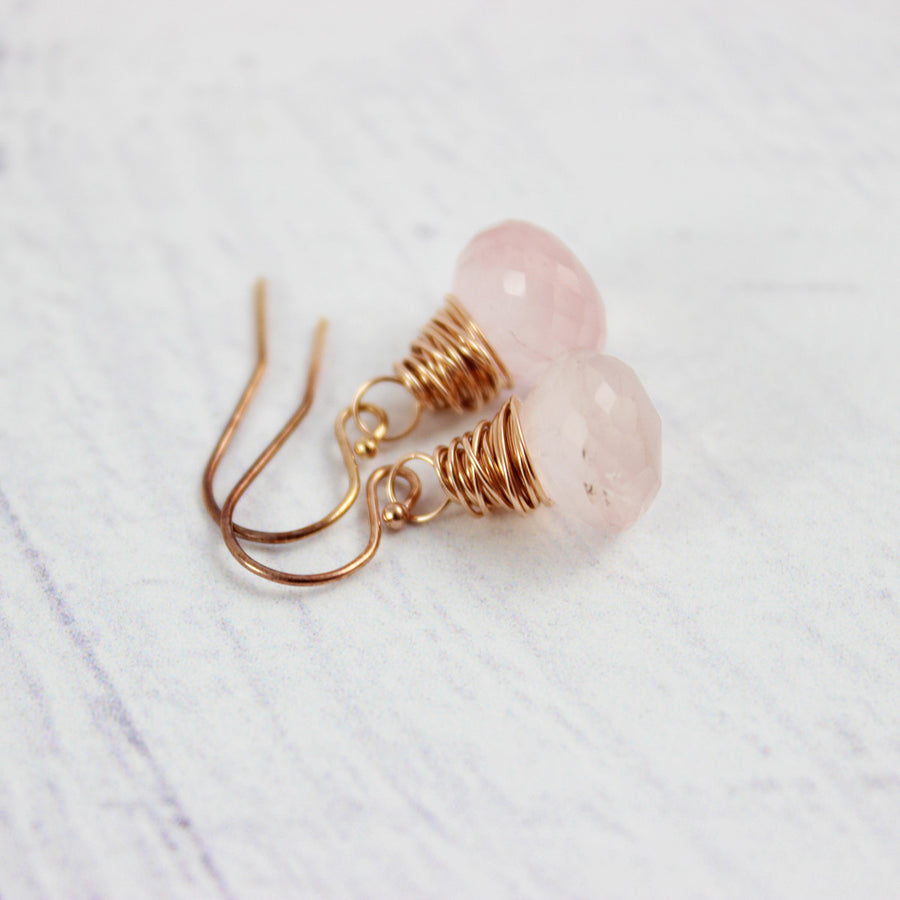 Pink Rose Quartz Gold Gemstone Earrings