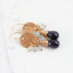 Blue Sapphire and Topaz Rose Gold Earrings