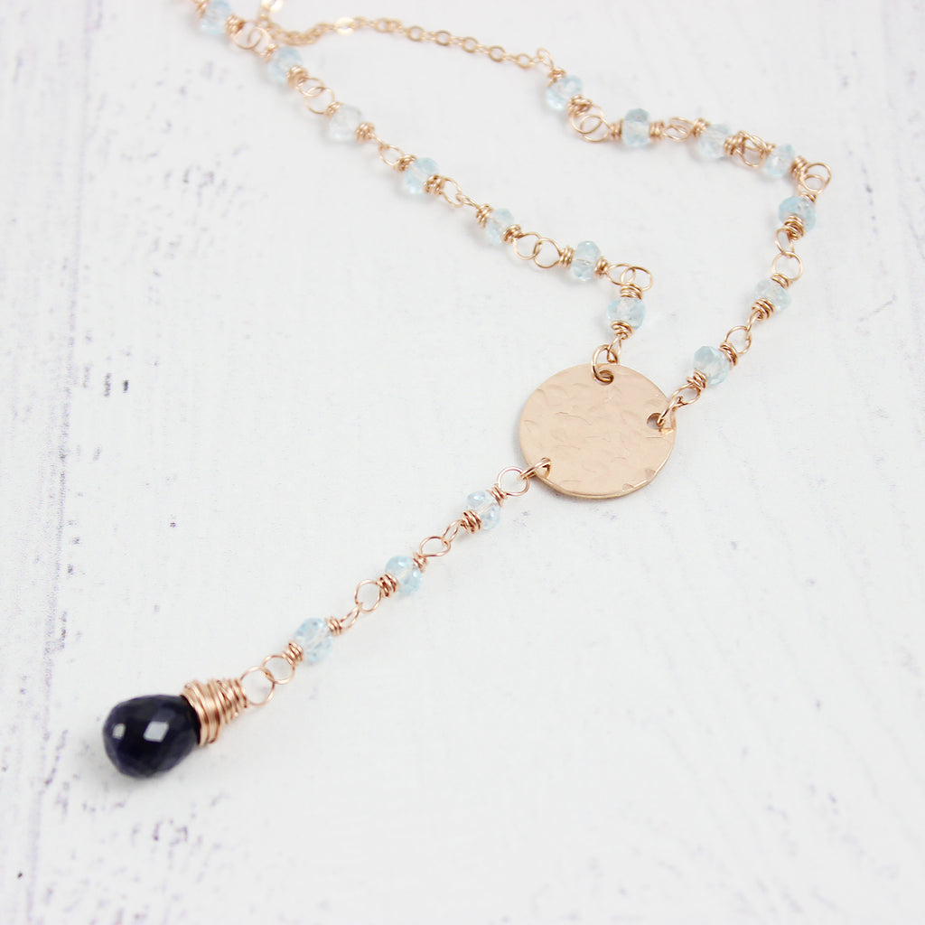 Blue Sapphire and Topaz Rose Gold Necklace