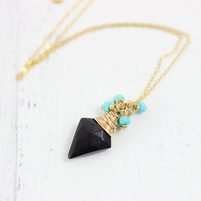 Black Spinel and Turquoise Gold Pendant Necklace